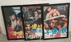 3 LONE WOLF AND CUB BABY CART Japanese B2 posters FRAMED Shogun Assassin